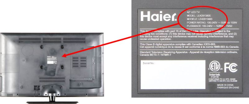 Detail of recalled LED TV label and its location on the back of the TV