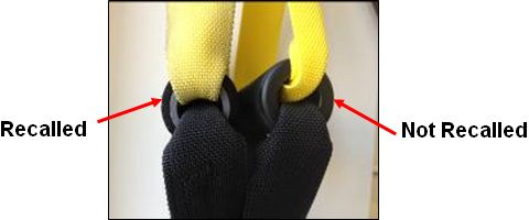 Picture comparing handgrips on recalled and non recalled P1 and T1 TRX suspension trainer devices