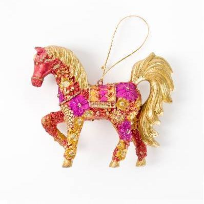 Ornament Horse Pink and Gold