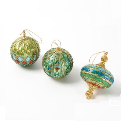 Ornament Round ball with diamonds Set of 3