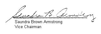 Picture of the signature of Saundra Brown, Agency Vice Chairman, 1985
