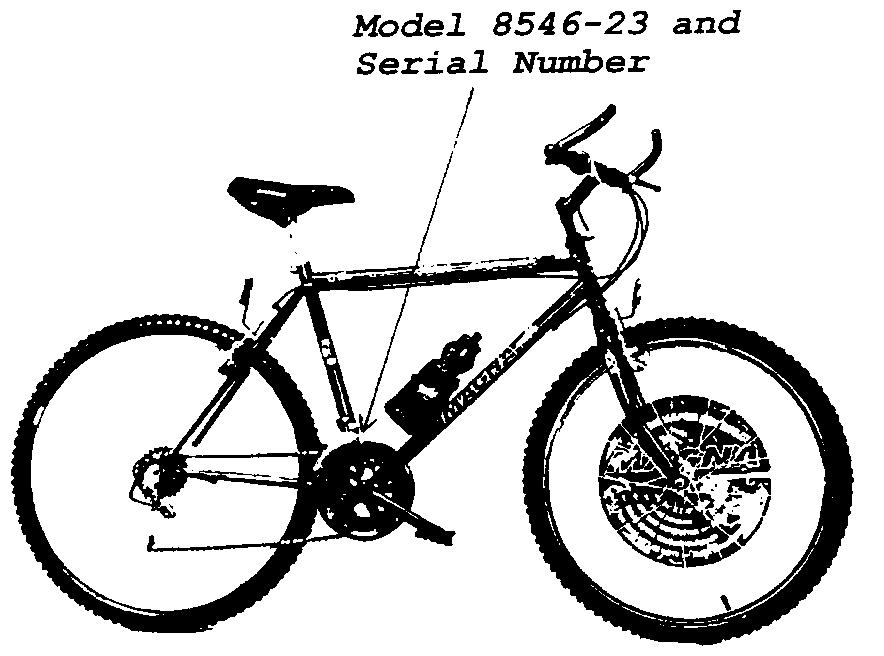 Location of Model and Serial Number on Bicycle
