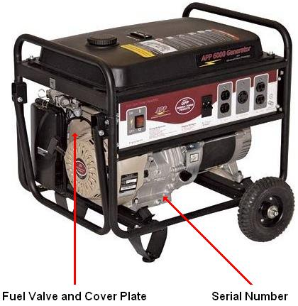 Picture of Recalled General Power Products 6000 Watt portable generator