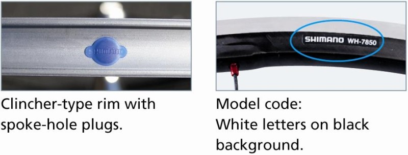 Picture of Clincher-type rim with spoke-hole  plubs (left) and Model Code: White letters on black background (right)