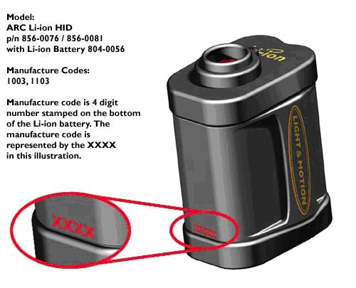 Picture of Recalled Bicycle Light Battery