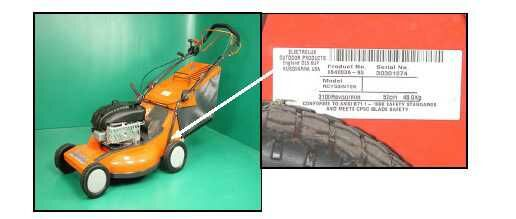 Picture of Recalled Lawn Mower and Labe