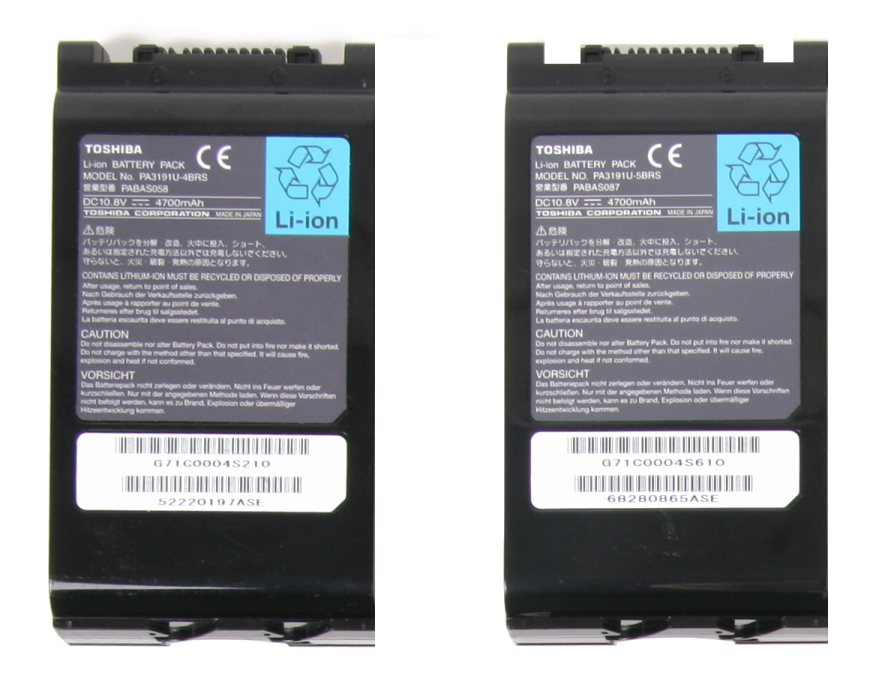 Picture of Toshiba Recalled Batteries