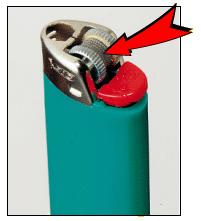 Picture of recalled lighter without a child-resistant mechanism