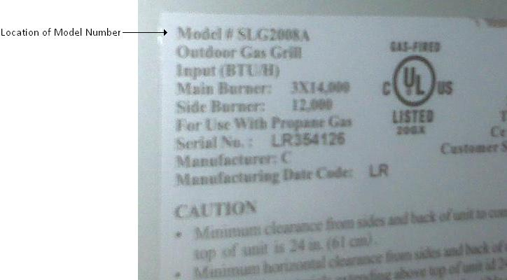 Picture of Label showing Location of Model Number