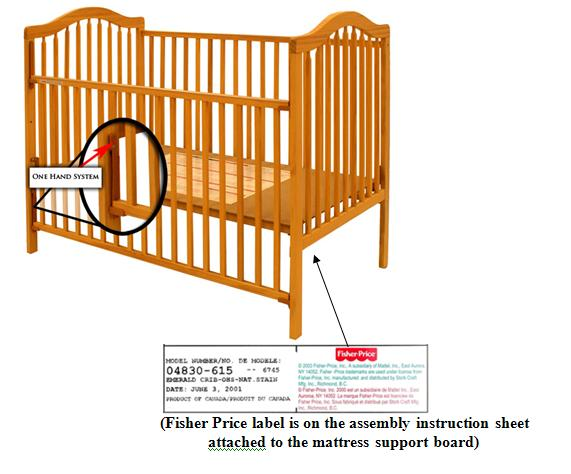 Picture of Recalled one-hand system Crib with indication of Fisher Price label on the assembly instruction sheet attached to the mattress support board