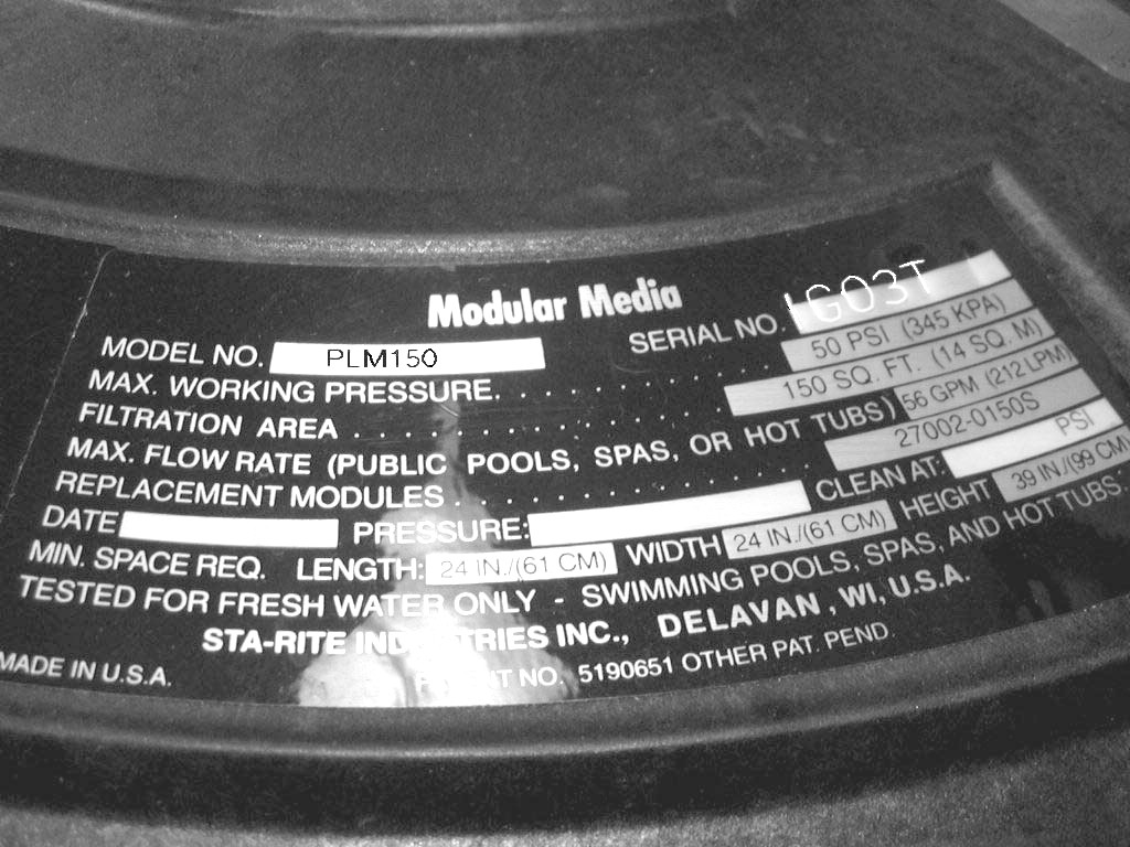 Picture of Label on Recalled Pool Filter