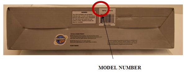 Picture showing location of model number