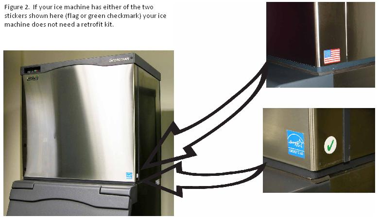 Figure 2.  If your ice machine has either of the two stickers shown here (flag or green checkmark) your ice machine does not need a retrofit kit.