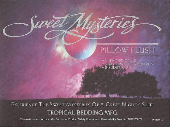 Picture of Recalled Sweet Mysteries Mattress Label