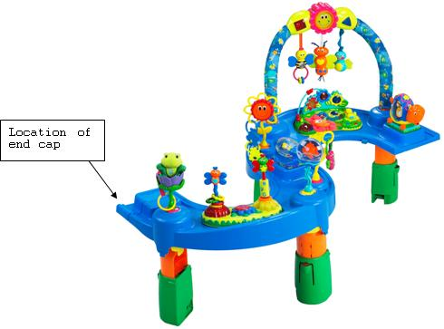 Picture of Recalled Activity Center with indication of location of end cap