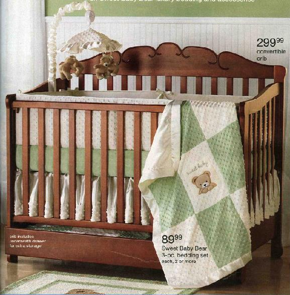 Picture of recalled drop side crib Model No. 343-8225 (about 7,300 units produced)