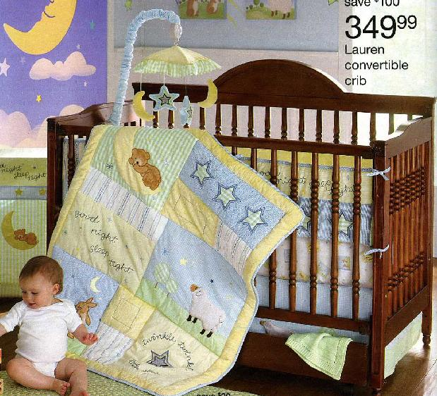 Picture of recalled drop side crib Model No. 343-9117 (about 700 units produced)