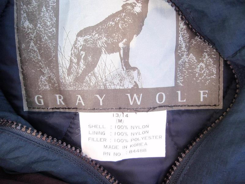 Recalled Gray Wolf jacket label
