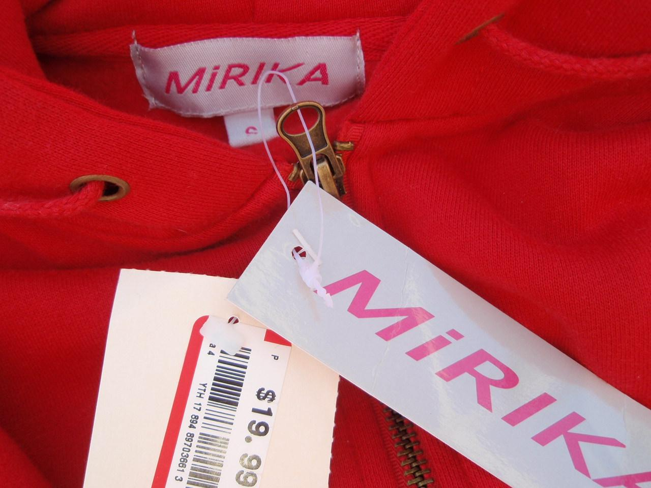 Recalled Mirika jacket label