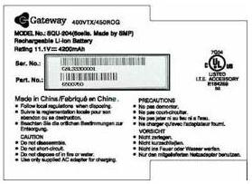 Picture of Gateway Lithium Ion Battery Pack Label