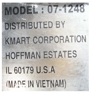 Picture of crib label showing model number
