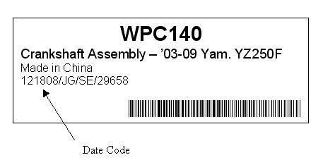 Picture of Part Number and Date Code on Product's Packaging