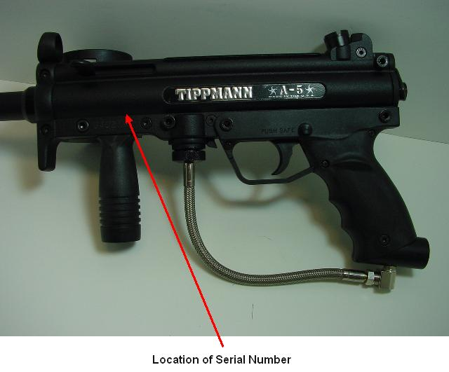 Picture of Recalled Paintball Marker showing Location of Serial Number