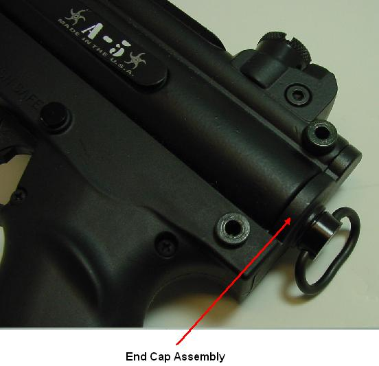 Picture of Recalled Paintball Marker showing End Cap Assembly