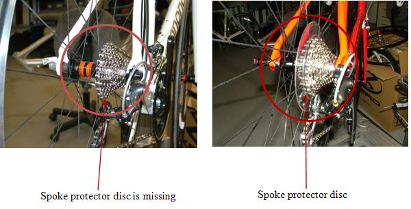 Picture of Recalled Road Bicycles indicating where the spoke protector disc is missing (left) and the spoke protector disc (right)