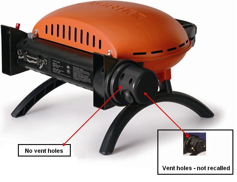 Picture of recalled portable gas O-Grill 1000 with no vent holes (also vent holes - not recalled - shown)