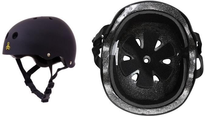 Side and Bottom Pictures of Triple Eight S/M EPS Liner Helmet