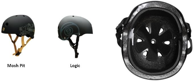 Side and Bottom Pictures of Mosh Pit and Logic Sector 9 S/M EPS Liner Helmets