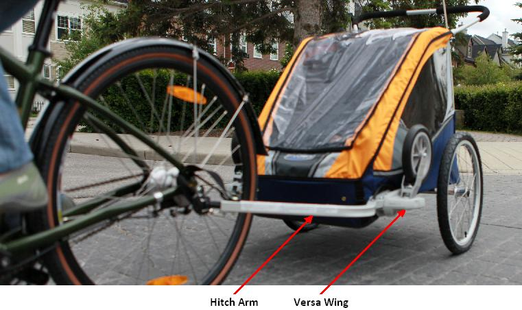 Picture of recalled Bicycle Trailer showing location of Hitch Arm and Versa Wing
