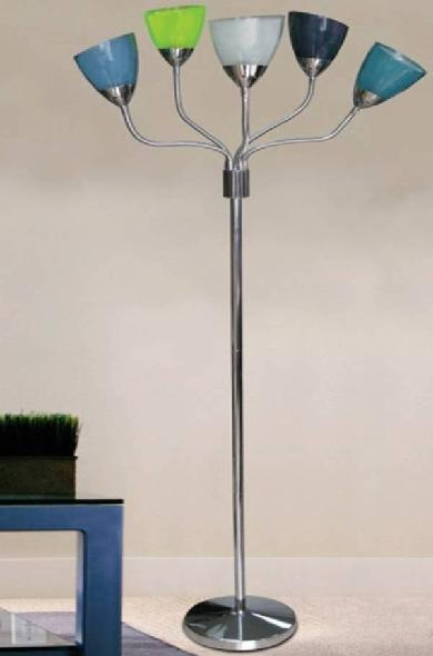 Picture of recalled Big Lots 5-Light Floor Lamp with multi-colored shades
