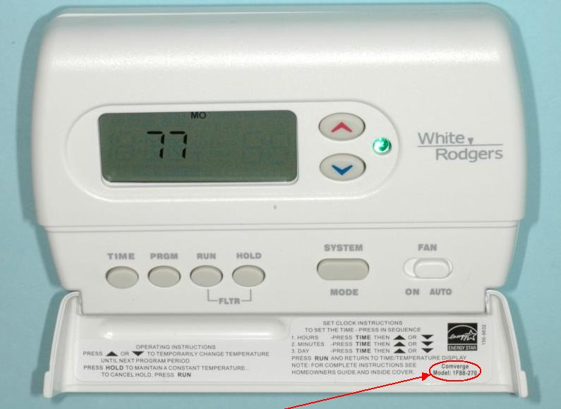Picture of Recalled Thermostat Showing Location of Model Number