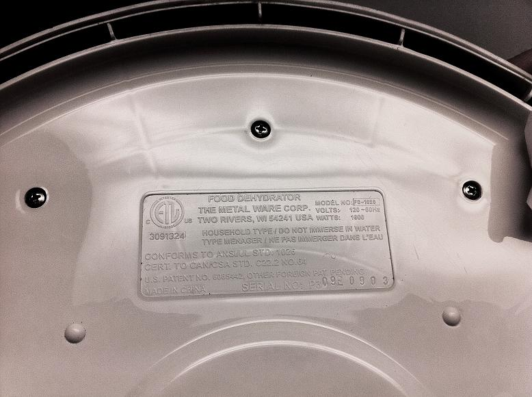 Picture of molded label on the underside of the dehydrator's electronic control module