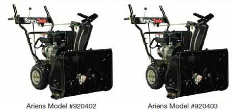 Picture of recalled Ariens snow blowers model # 920402 and 920403