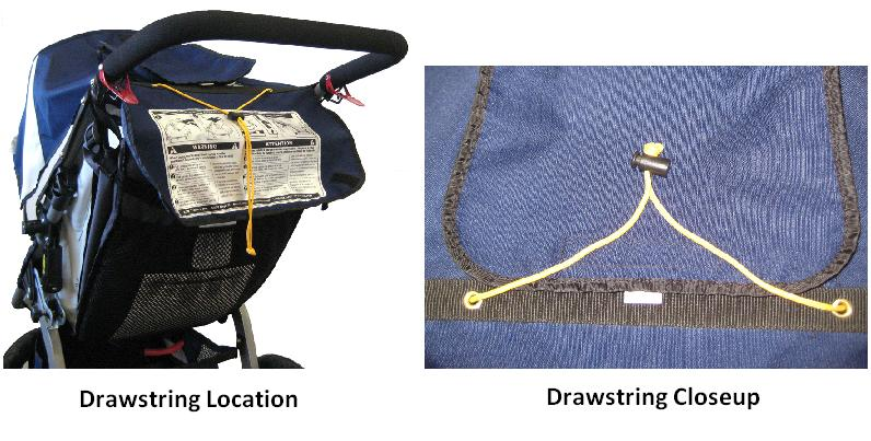 Picture of Recalled Jogging Stroller showing drawstring location and closeup