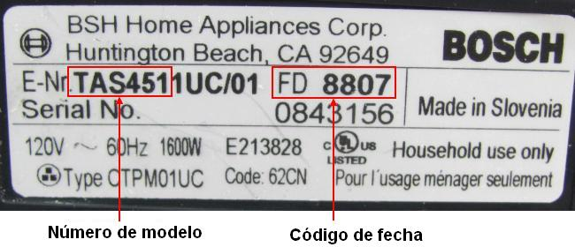 Picture of Recalled Coffee Maker Label showing model number and date code