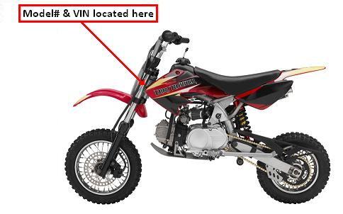 Picture of recalled Baja DR70 Dirt Bike