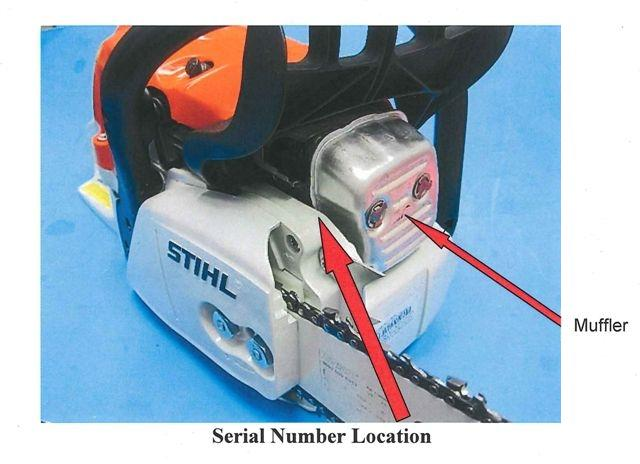 Detail of recalled chainsaw showing the serial number location