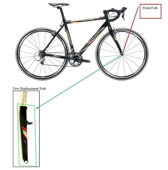 Picture of recalled bicycle showing front fork and new replacement fork