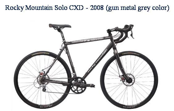 Picture of recalled Rocky Mountain Solo CXD - 2008 gun metal grey color bicycle