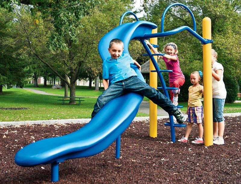 Picture of recalled blue Slalom Glider playground slide
