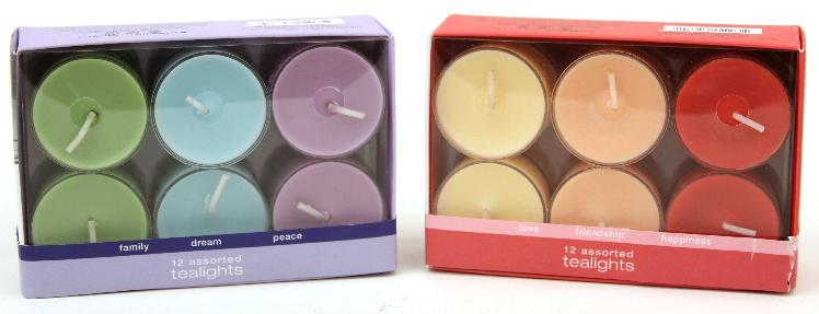 Picture of recalled Target/Chesapeake Bay Candle Sentiments tea light candles