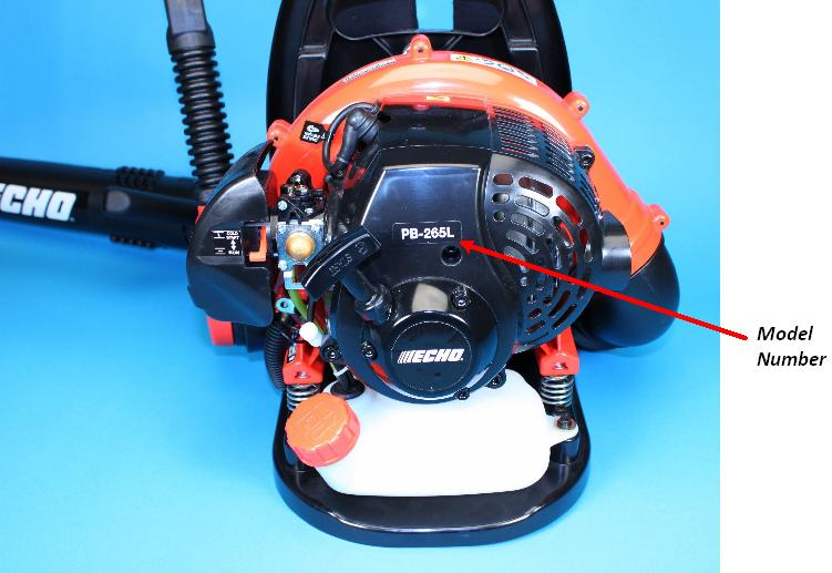 Picture of recalled Backpack Blower showing model number location