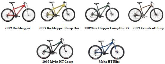Picture of Recalled Bicycles - top row, from left: 2009 Rockhopper, 2009 Rockhopper Comp Disc, 2009 Rockhopper Comp Disc 29, 2009 Crosstrail Comp.  Bottom row, from left: 2009 Myka HT Comp, Myka HT Elite