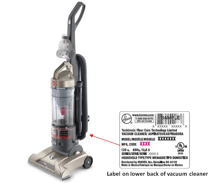 Picture of recalled vacuum cleaner and label on its lower back