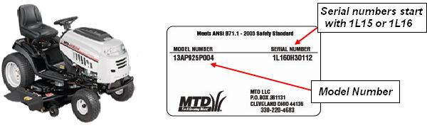 Picture of recalled MTD Gold tractor and sample label