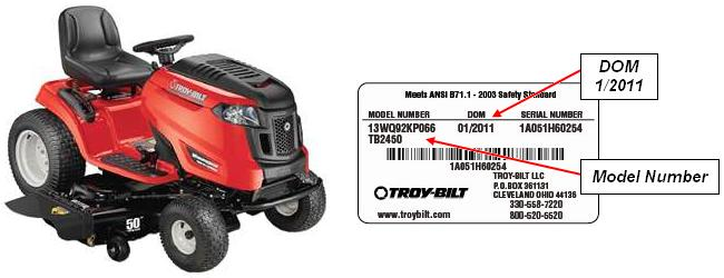 Picture of recalled Troy-Bilt tractor and sample label